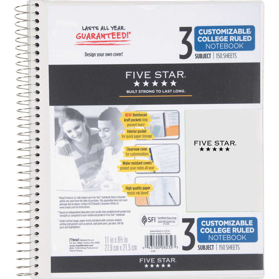 150 Sheets 3 Subject 08232 College Ruled Paper Five Star Spiral Notebook Color Selected For You 11 x 8-1//2 Customizable Cover