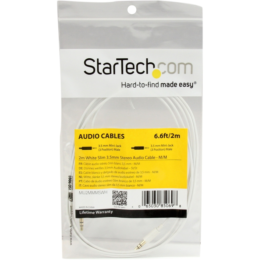 StarTech.com 2m White Slim 3.5mm Stereo Audio Cable - Male to Male