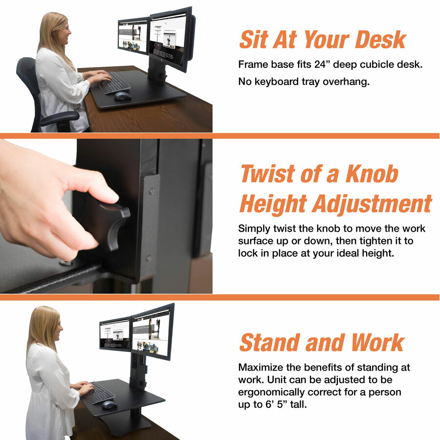 Vctdc350 Victor High Rise Manual Dual Monitor Standing