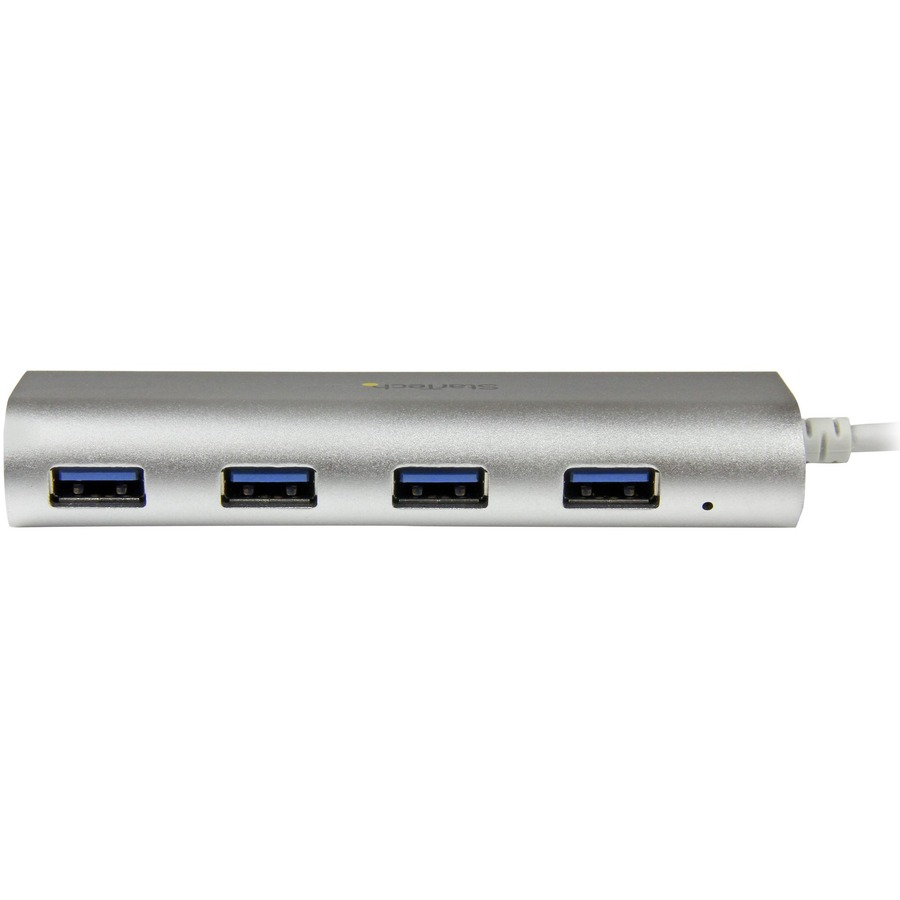 StarTech.com 4 Port Portable USB 3.0 Hub with Built-in Cable - Aluminum and Compact USB Hub - 4 Total USB Ports - 4 USB 3.0 Ports