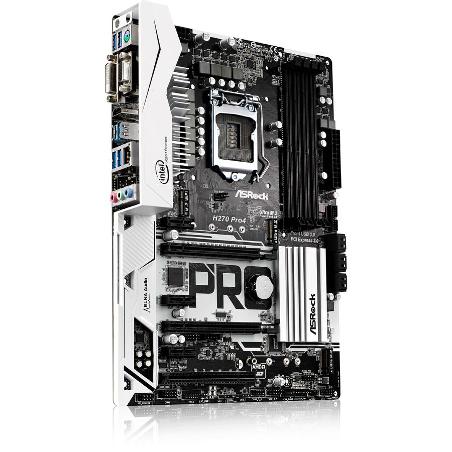 ASRock H270 Pro4 Desktop Motherboard - Intel Chipset - Socket H4 LGA-1151 -  64 GB DDR4 SDRAM Maximum RAM - UDIMM, DIMM - 4 x Memory Slots - Gigabit