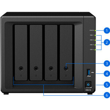 Synology DiskStation DS418 4 x Total Bays SAN/NAS Storage System - Desktop - Realtek Quad-core 4 Core 1.40 GHz - 4 x HDD Supported - 40 TB Supported HDD Capacity -