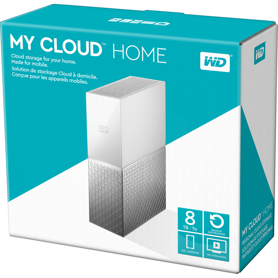 WD My Cloud Home WDBVXC0080HWT-EESN 1 x Total Bays NAS Storage System - Desktop - 1 x HDD Supported - 1 x HDD Installed - 8 TB Installed HDD Capacity - Gigabit Ether
