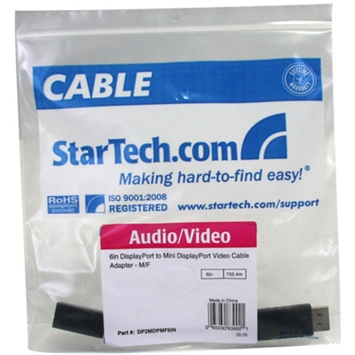 StarTech.com 6in DisplayPort to Mini DisplayPort Video Cable Adapter - M/F - DisplayPort Male Digital A / V