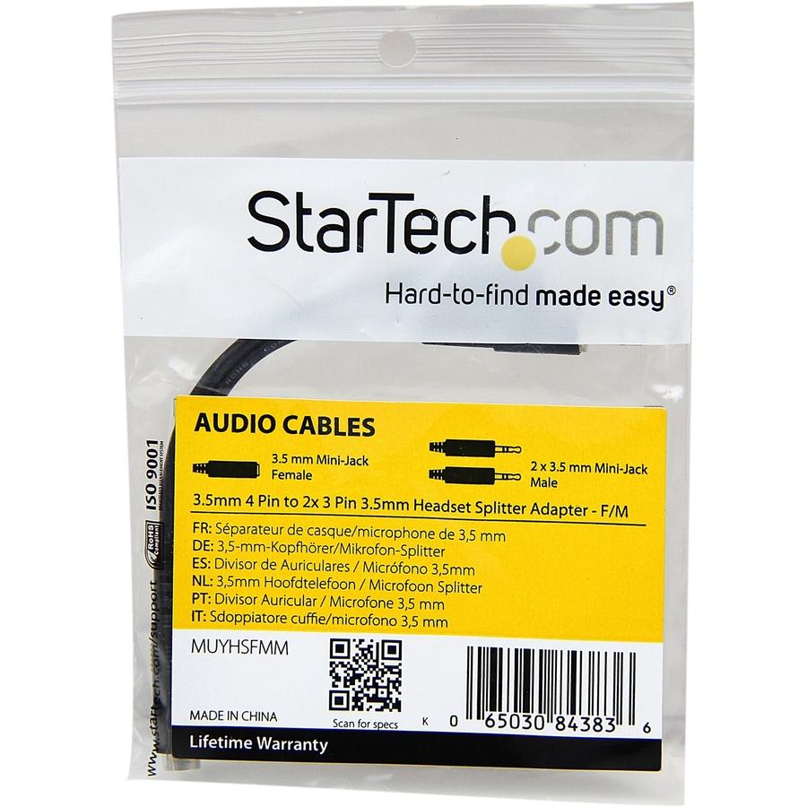StarTech.com 3.5mm 4 Position to 2x 3 Position 3.5mm Headset Splitter Adapter - F/M