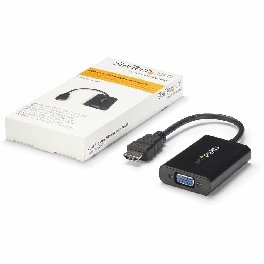 StarTech.com HDMI to VGA Video Adapter Converter with Audio - 1920x1200 - 1 x HDMI Digital Audio/Video