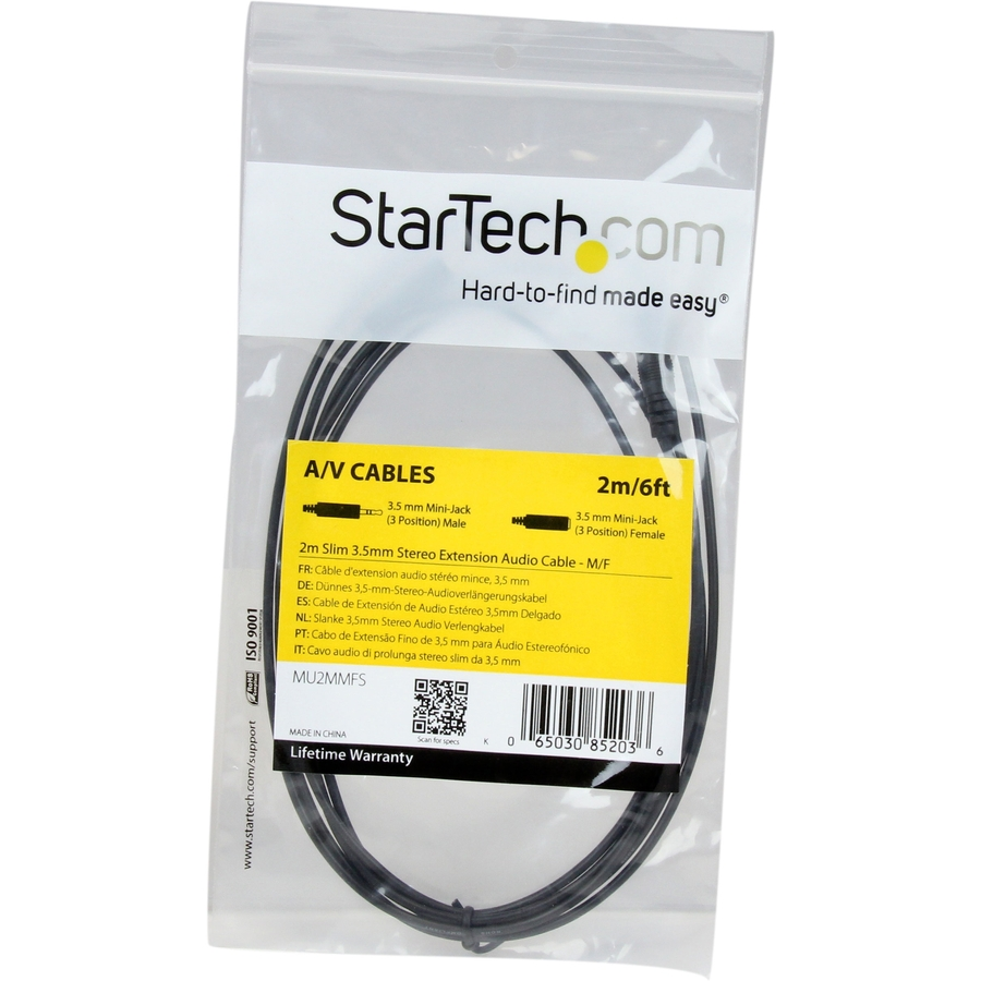 StarTech.com 2m Slim 3.5mm Stereo Extension Audio Cable - M/F - 1 x Mini-phone Male Stereo Audio