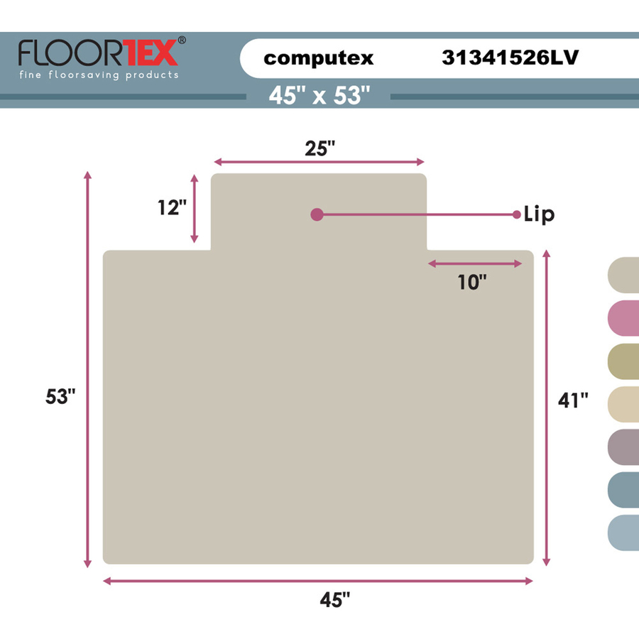 FLR31341526LV Computex Anti-Static Advantagemat Chair Mat for Standard-pile Carpets - Zuma