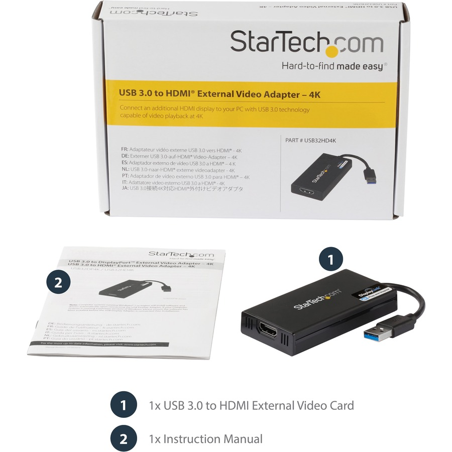 StarTech.com USB 3.0 to 4K HDMI External Multi Monitor Video Graphics Adapter - DisplayLink Certified