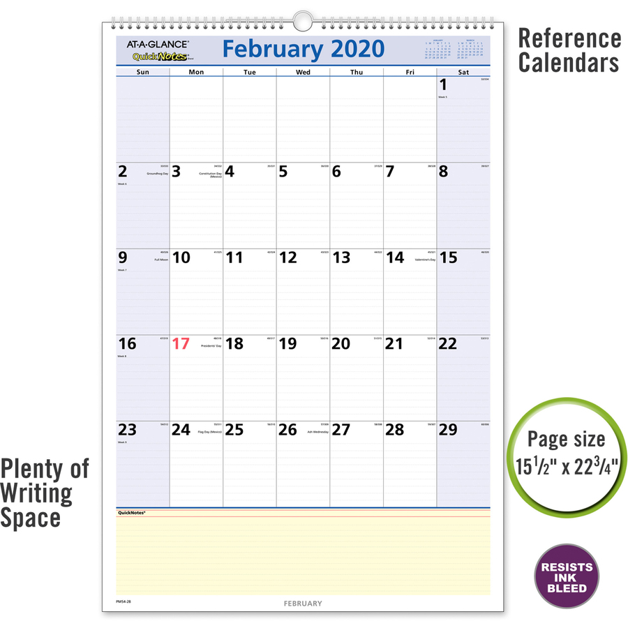 At-A-Glance QuickNotes Monthly Wall Calendar | Village ...