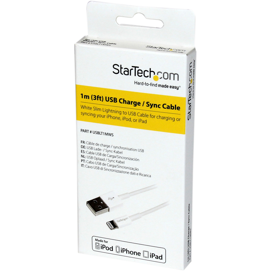 StarTech.com 1m 3ft White Apple 8-pin Slim Lightning Connector to USB Cable for iPhone / iPod / iPad