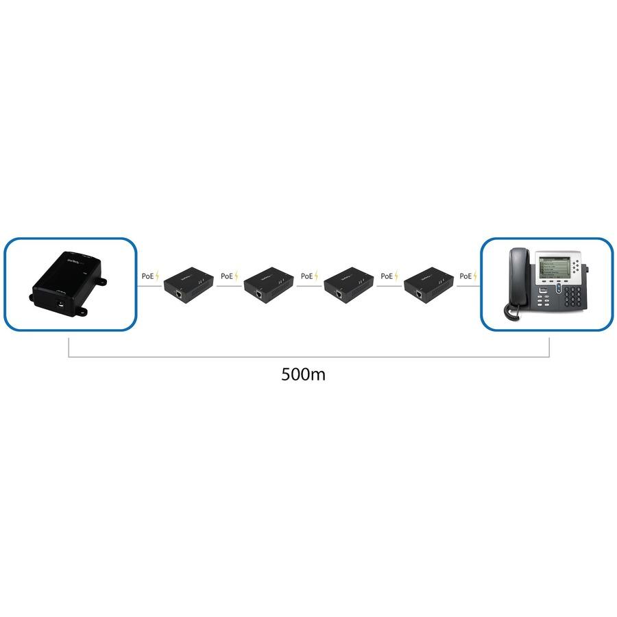 StarTech.com Gigabit PoEplus Extender - 802.3at/af - 100m 330ft - Power over Ethernet Extender