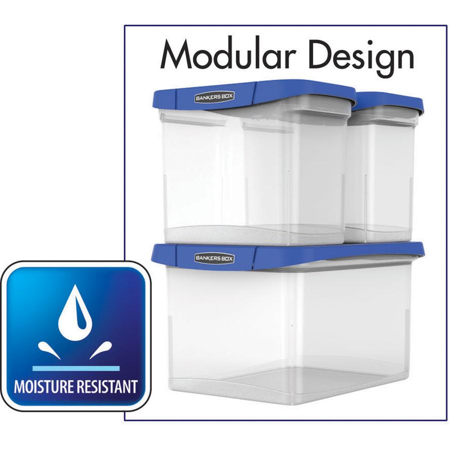 Reinforced Corner Built-in Rail Durable Water Proof FEL0086201 Fellowes Heavy Duty Portable File Box Comfortable Handle