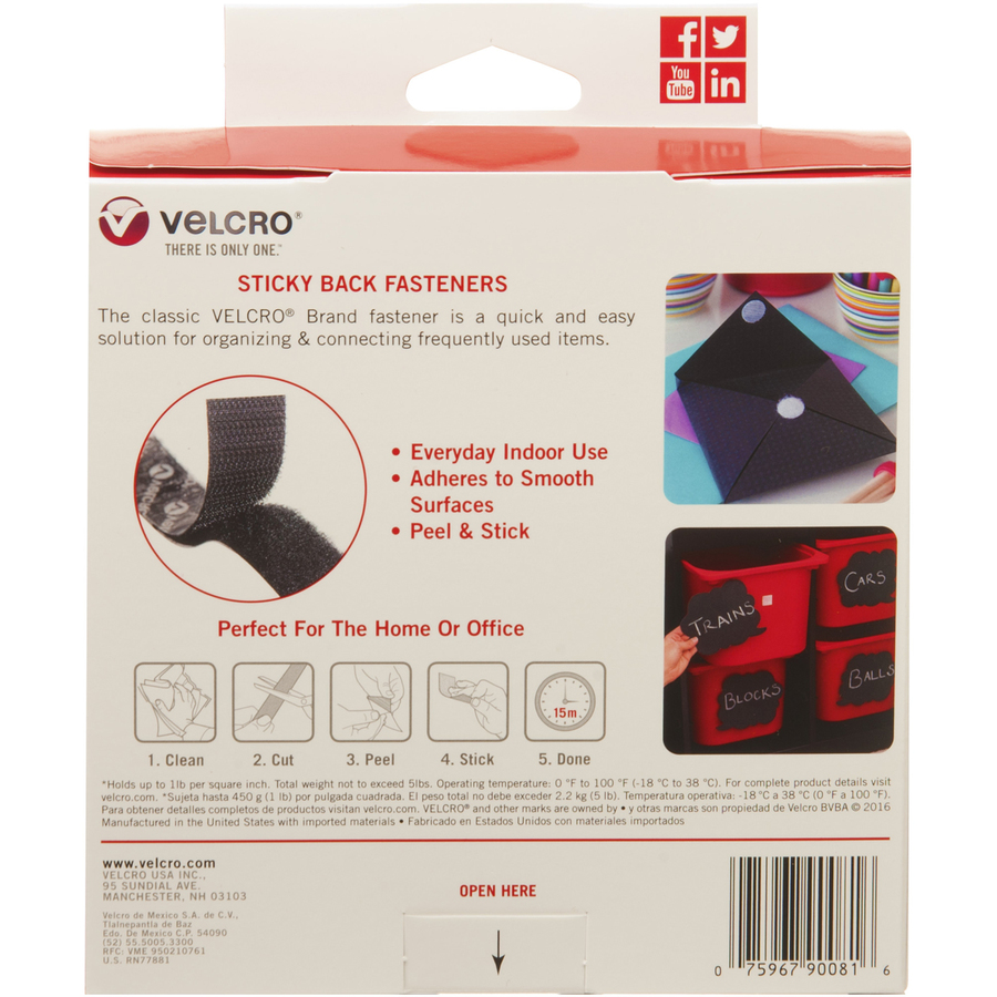 """1 Velcro Sticky Back Hook And Loop Tape 0.75/"""" Width X 15 Ft Length Roll"""