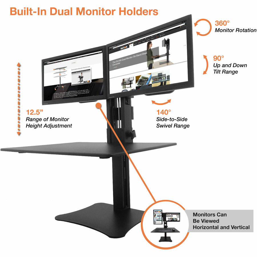 VCTDC350 Victor High Rise Manual Dual Monitor Standing Desk