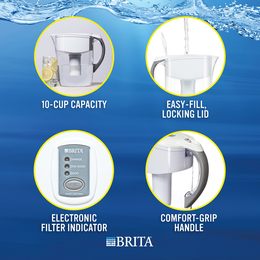 Brita Large 10-Cup BPA-Free Grand Water Pitcher with Filter - Pitcher - 40  gal - 1 Each - White