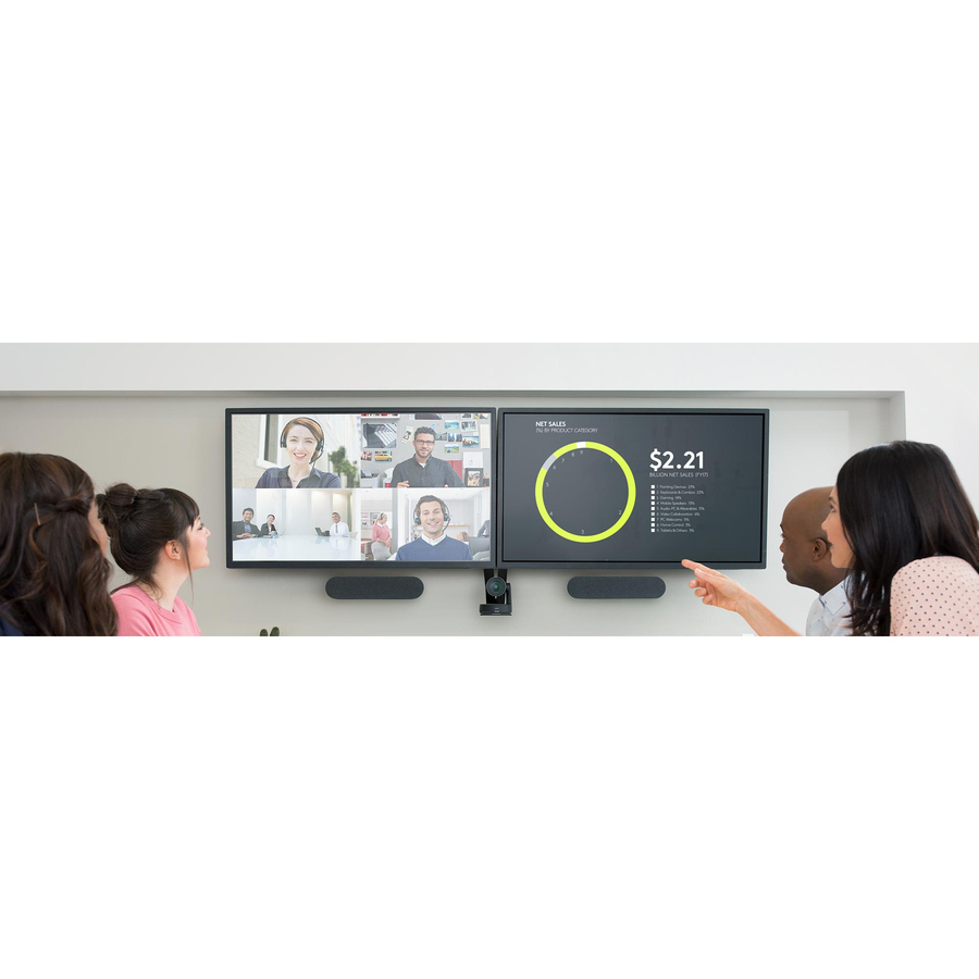 Logitech Video Conferencing Camera - 13 Megapixel - 60 fps - Matte Black, Slate Grey - USB 3.0 - 3840 x 2160 Video - Auto-focus