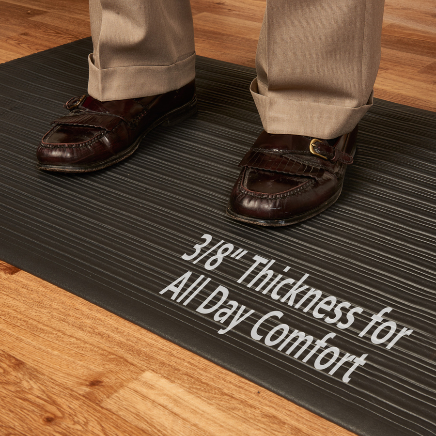 Genuine Joe Air Step Anti Fatigue Mat Warehouse 36 Length X 24 Width 0 38 Thickness Vinyl Black