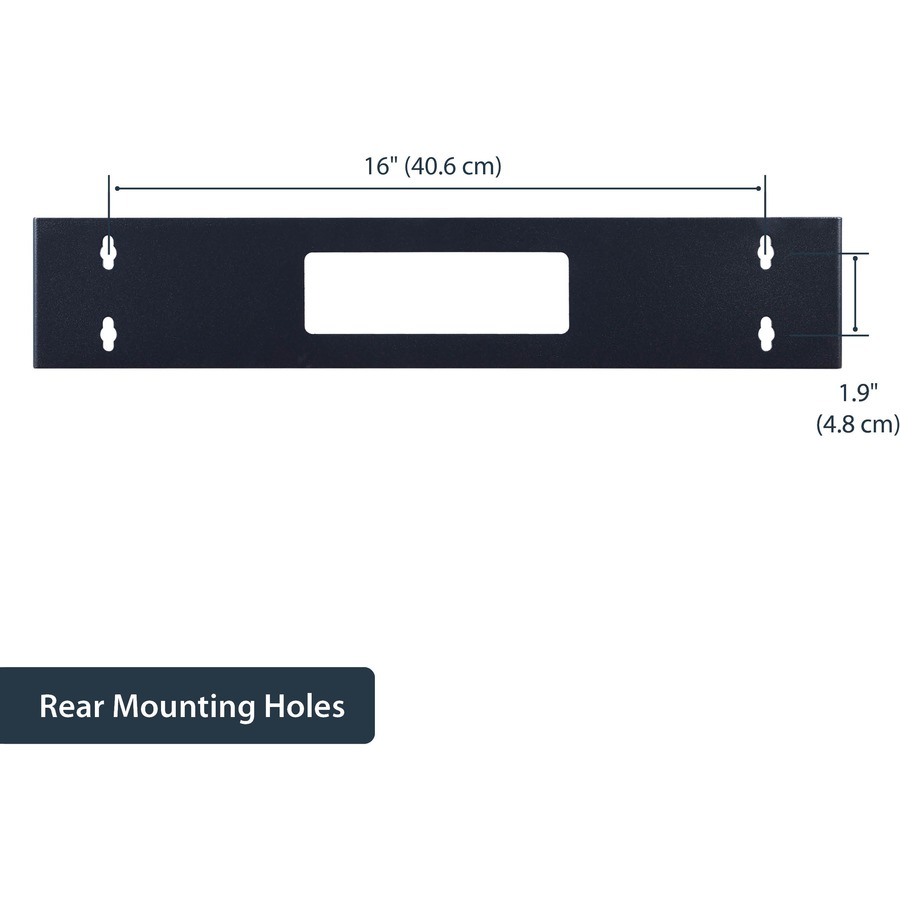 StarTech.com 2U 19in Hinged Wall Mount Bracket for Patch Panels - Black