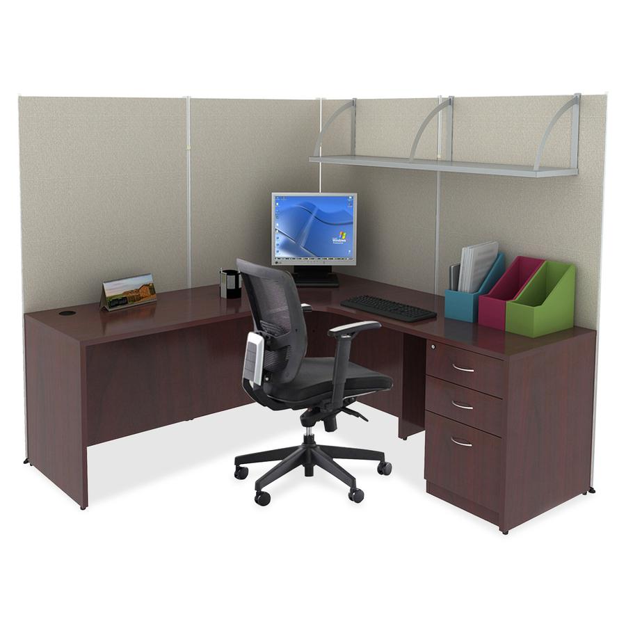 Lorell Essentials Series Mahogany Laminate Desking Llr