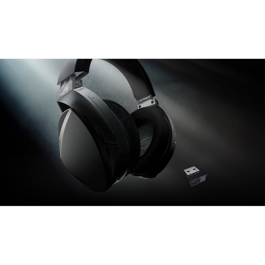 Asus ROG Strix Wireless Over-the-head Stereo Gaming Headset - Black - Circumaural - 2000 cm - RF - 32 Ohm - 20 Hz to 20 kHz - Uni-directional Microphone