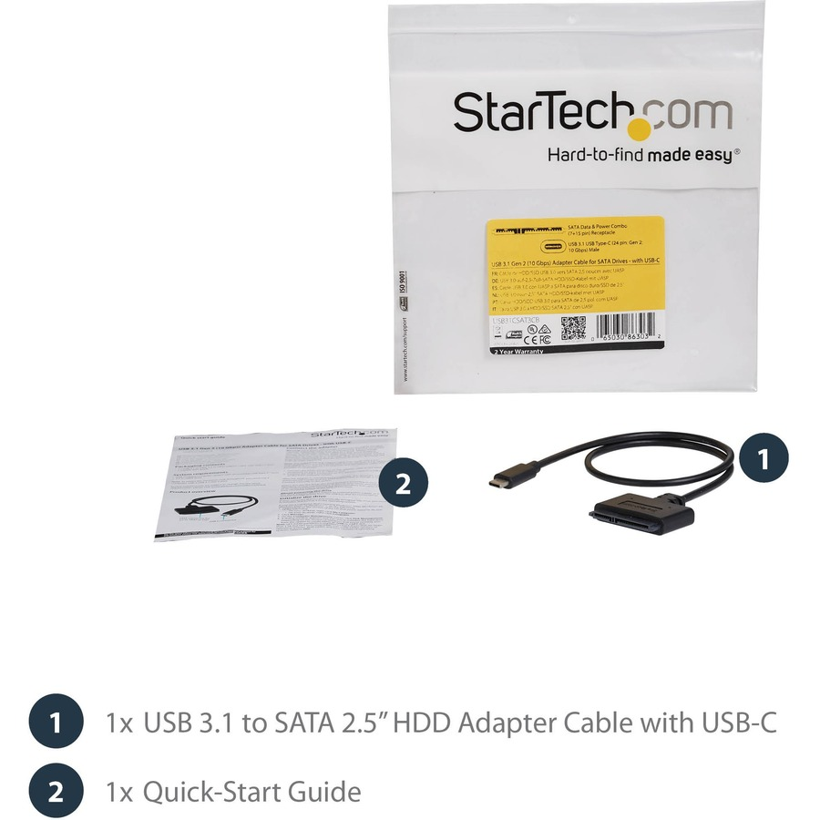 StarTech.com USB 3.1 10Gbps Adapter Cable for 2.5inch SATA Drives - with USB-C
