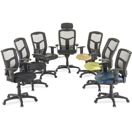 "<p>Executive High-back Mesh Chair cradles you during a hard day at work with a breathable mesh back and mesh fabric seat. The ergonomic mesh back supports the natural curvature of your back for less strain during work at the computer or meetings at your desk. Multifunction control adjusts seat and back angles independently with two levers for infinite locking within a fixed range. For more individualized comfort, arms adjust in height and width, and the seat height from floor adjusts from 17"" to 21"". High-back chair also swivels 360 degrees and tilts with the pivot point located directly above the center of the chair base. Five-star nylon base is equipped with smooth-rolling casters for easily moving the chair where needed. Weight capacity is 275 lb. High-back chair is available in black frame only and meets the CA117 fire-retardant standard.</p>"