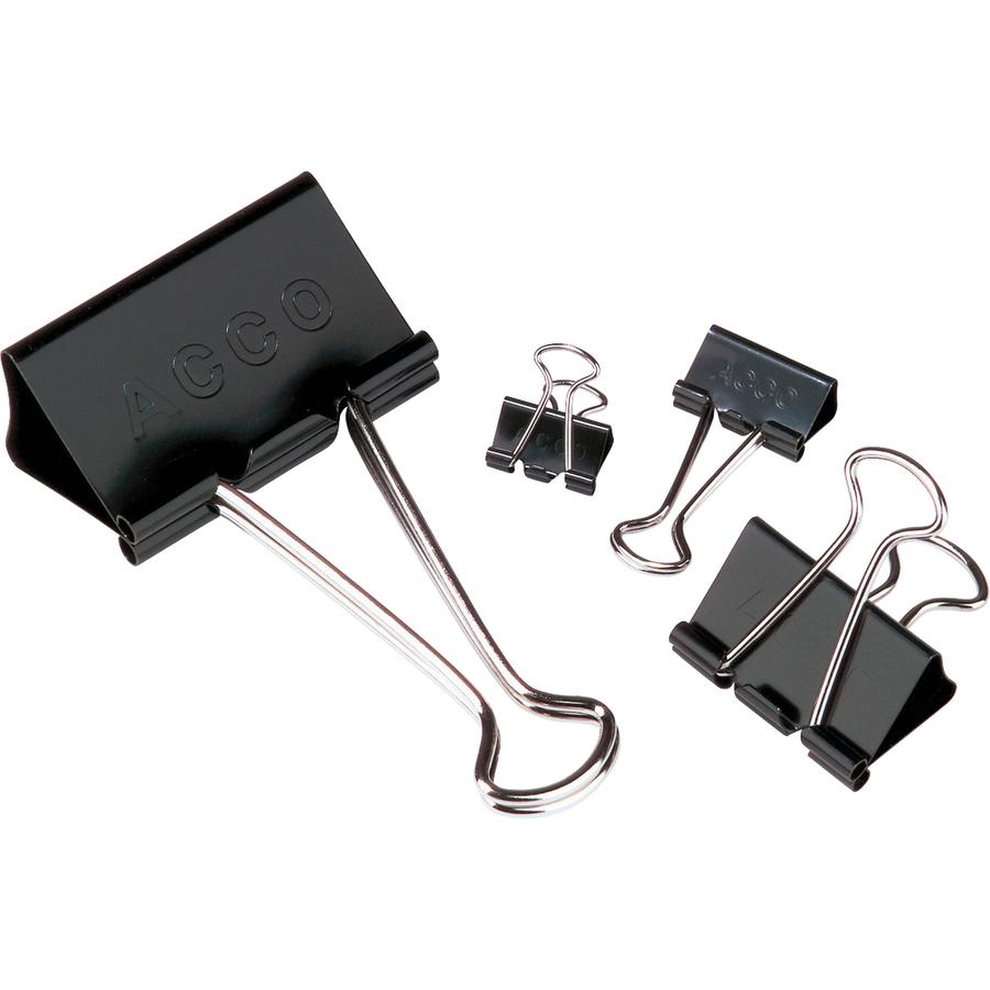 ACCO® Binder Clips, Large, Black, 12/Box