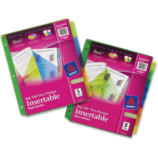 Top Tab Accessories Avery Big Tab Plastic Insertable Dividers 5