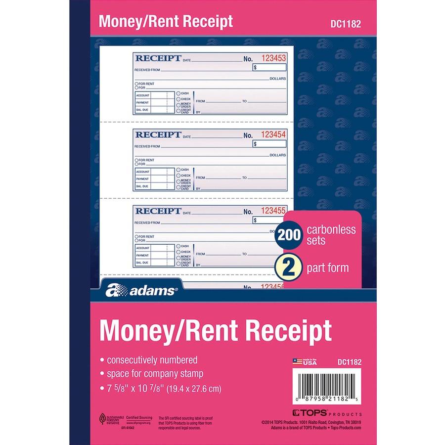 Adams Money Rent Receipt Book