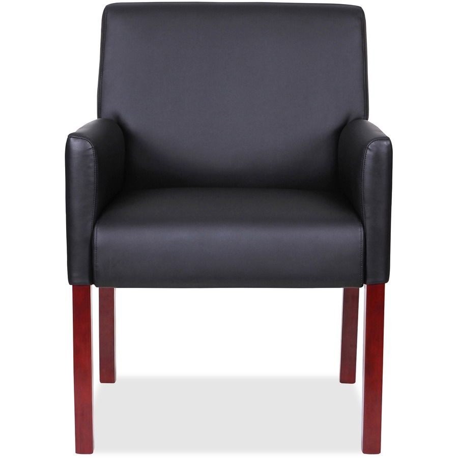 lorell full sided arms leather guest chair direct office buys