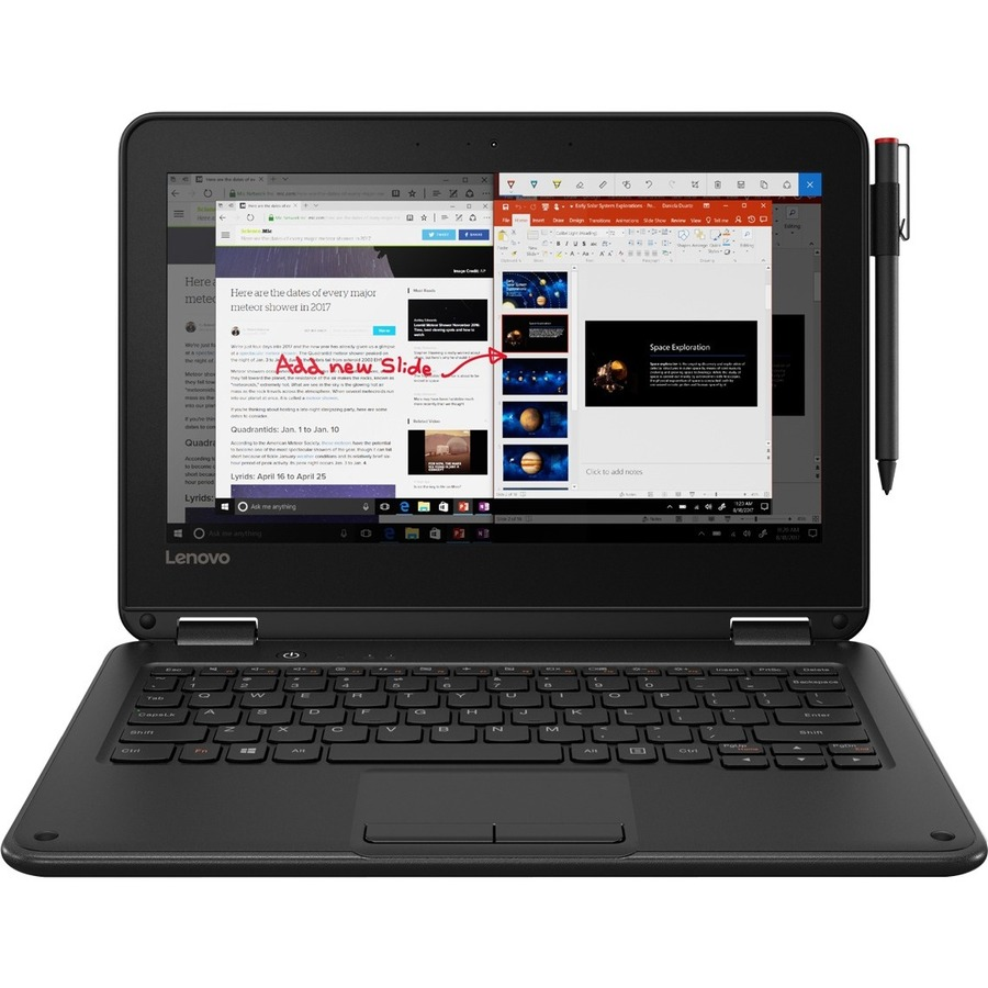Lenovo 300e Winbook 81FY000FUS 11 6 Inch Touchscreen 2 in 1 Notebook - 1366  x 768 - Celeron N3450 - 4 GB RAM - 128 GB Flash Memory