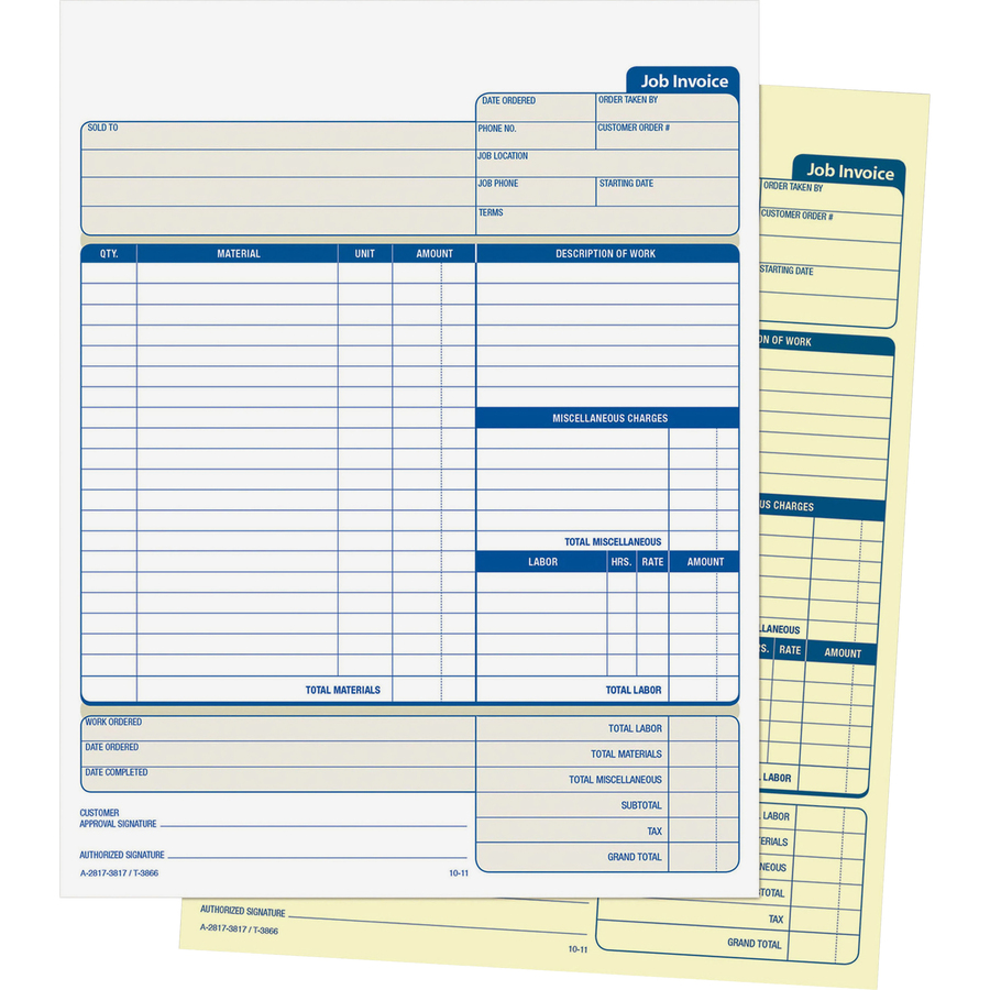 Adams Contractor Forms - 100 Sheet(s) - 2 Part - Carbonless Copy - 8 50