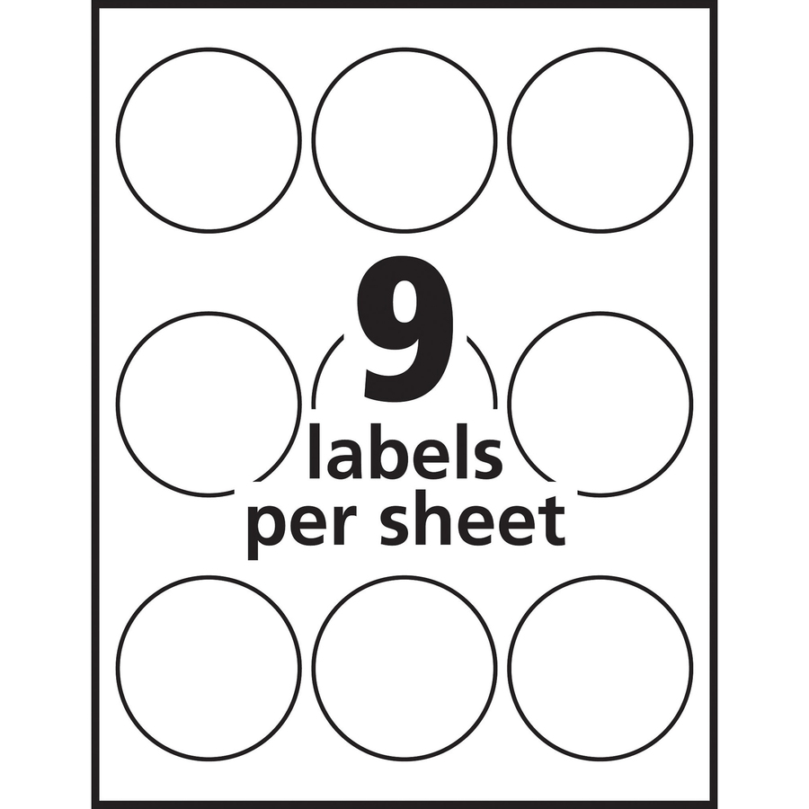 Avery white print to the edge round labels for Avery 2 round label template