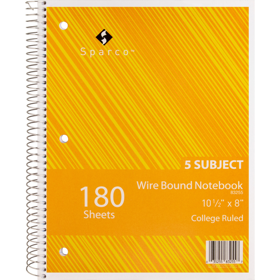 Sparco Wirebound College Ruled Notebooks - 180 Sheets - Wire