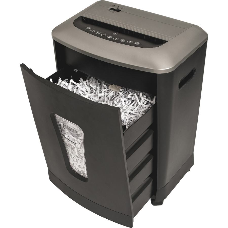 "<p>Compact cross-cut shredder offers protection for discarded confidential documents in your small or medium-size office. Stacked cutters shred 12 sheets per pass into confetti (P-3 Security Level) as well as credit cards, staples and paper clips. Paper entry is 8-2/3"" wide. Duty cycle is 3 minutes on and 30 minutes off. The 220mm motor operates at 65-decibel for low noise. Pullout waste bin holds 4.23 gallons. When the bin is removed, the shredder will automatically shut off for your safety. Shredder also features overheat protection and rolls easily on four casters (two locking).</p>"