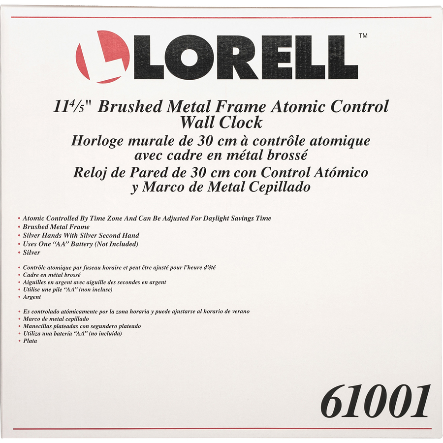 Lorell Brushed Nickel Plated Atomic Wall Clock