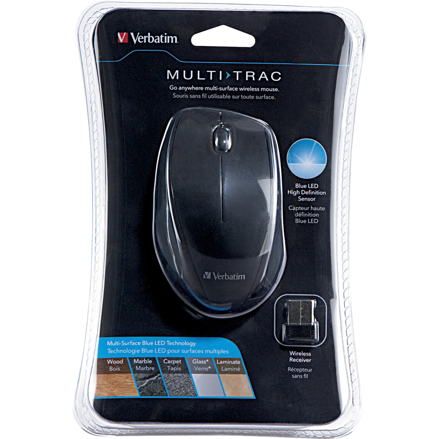 Verbatim Wireless Notebook Multi-Trac Blue LED Mouse - Black - Blue Optical - Wireless - Radio Frequency - Black - USB 2.0 - Scroll Wheel - 2 Button(s