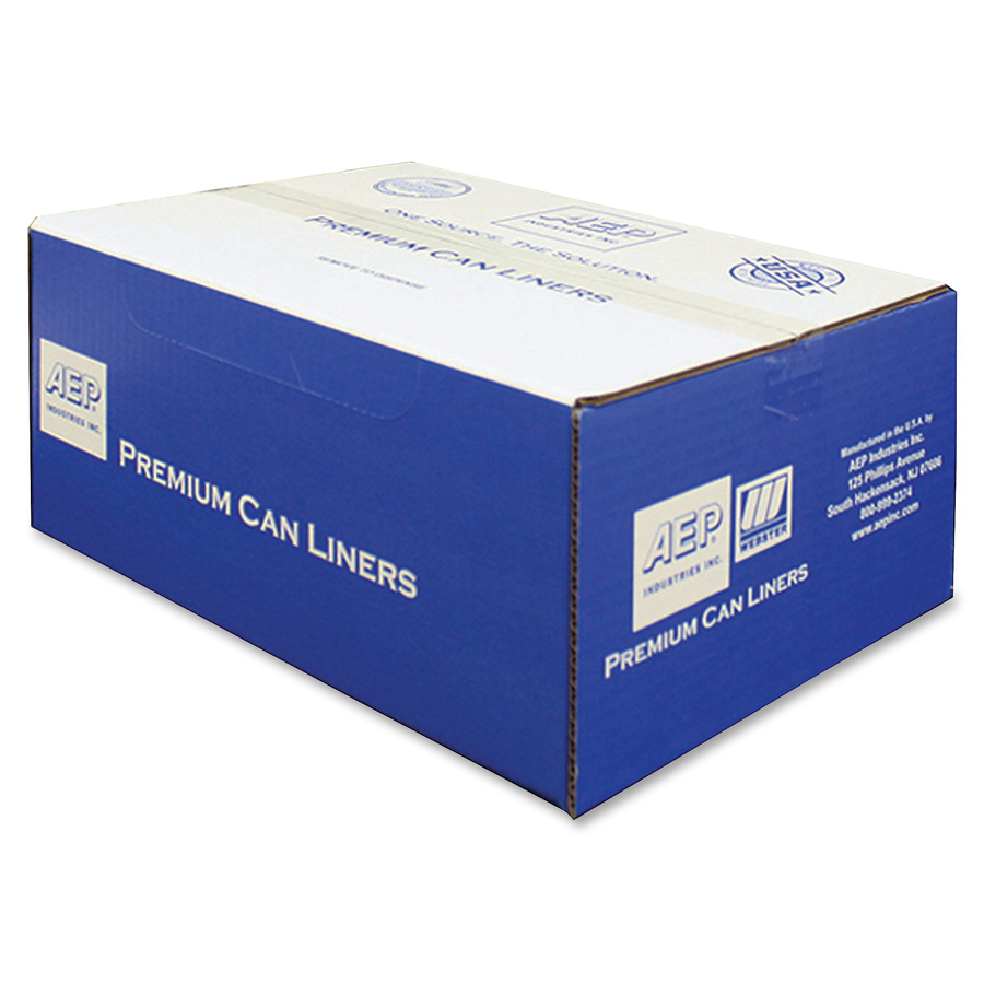 55-60gal.551mil Natural WEBSTER Industries HD386014N High Density Can Liners 200//Carton 38 x 60