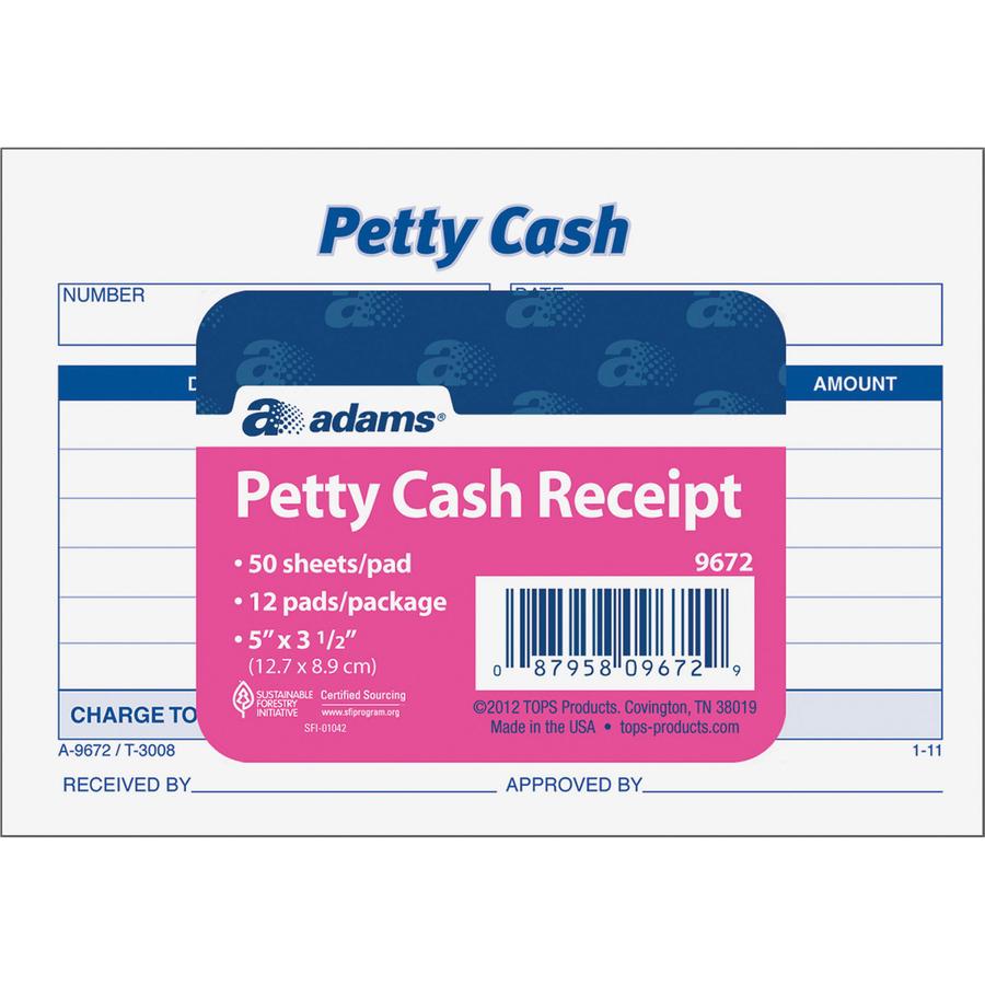 Adams Petty Cash Receipt Pad - 50 Sheet(s) - 15 lb - Gummed - 1 Part - 2  53/64