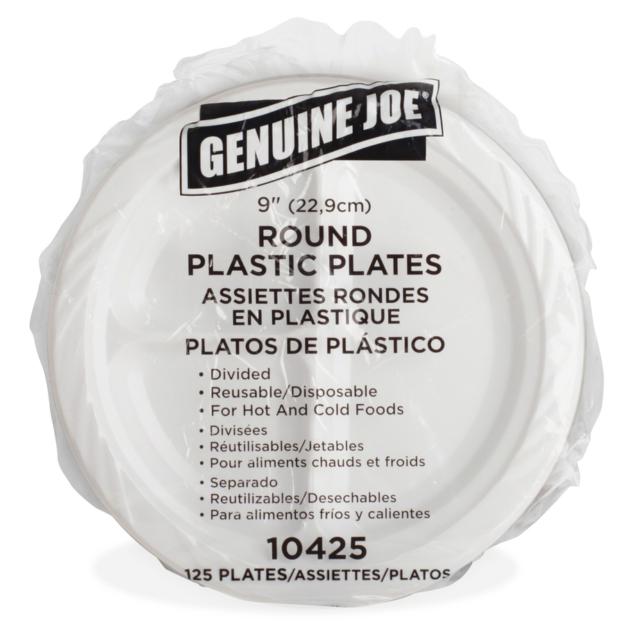 Joe Plastic Reusable Disposable Divided Plate 9 Diameter White Pack of 125