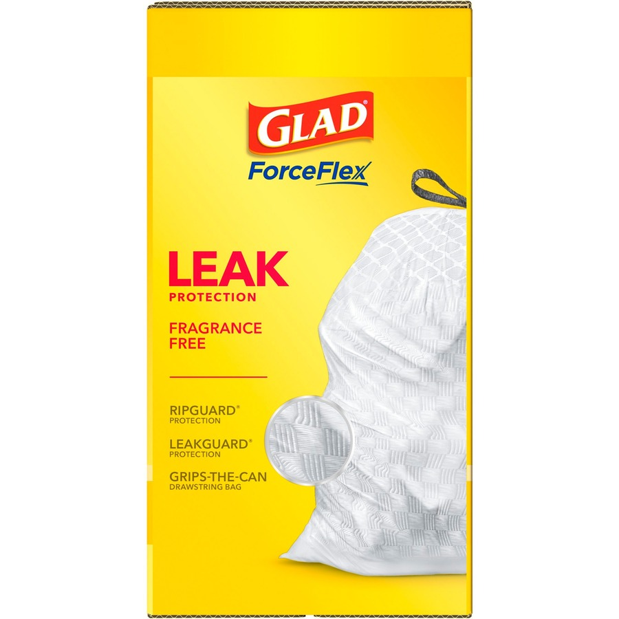 Glad Tall Kitchen Drawstring Trash Bags - 13 gal - 9 mil (229 Micron)  Thickness - White - Plastic - 120/Box - Home, Day Care, Breakroom, Garbage,  Kitc