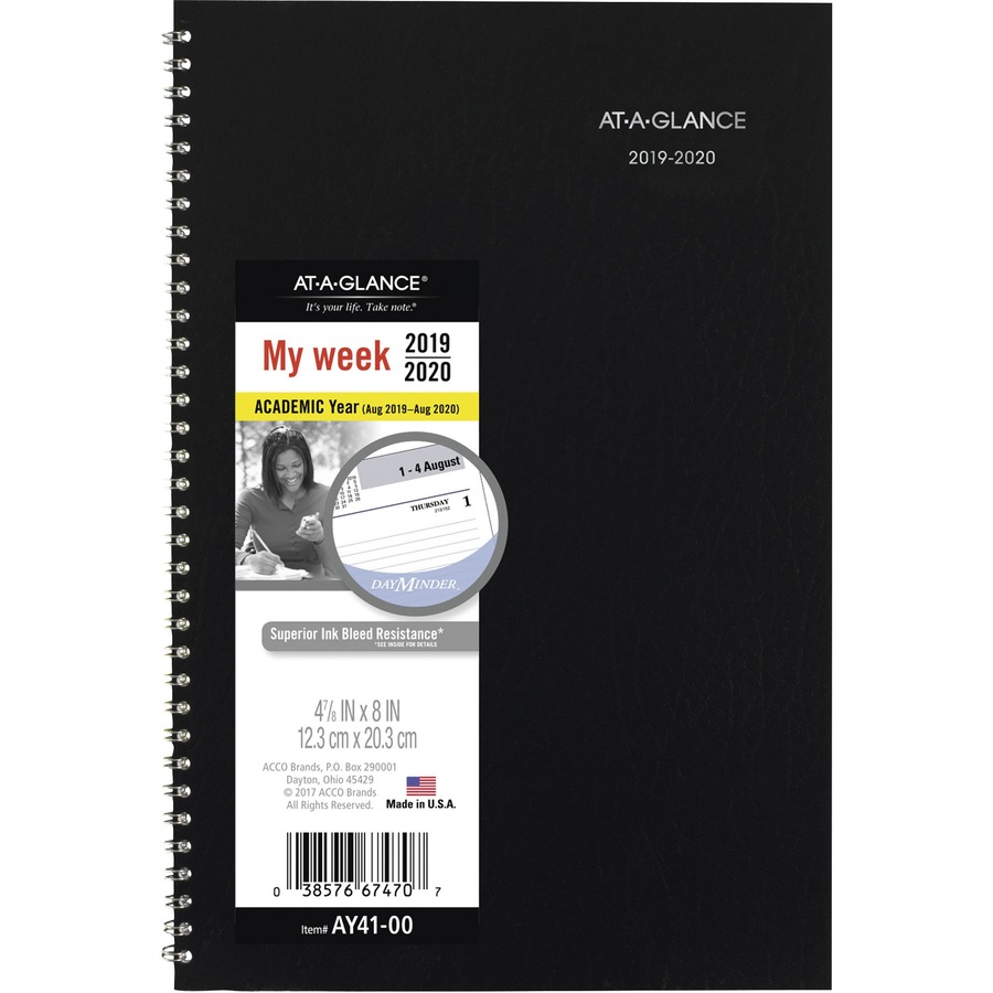 at a glance ay2 00 at a glance monthly academic planner aagay200