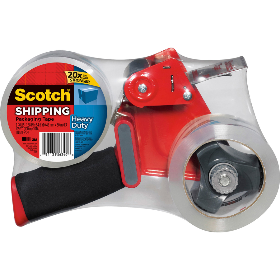 Scotch® Heavy Duty Shipping Packaging Tape, 1 88 x 54 6 Yds - 1 88 Width x  54 60 yd Length - 3 Core - Synthetic Rubber Resin - 3 10 mil - Dispenser