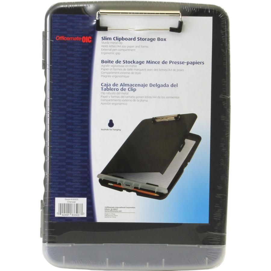 OIC Slim Clipboard Storage Box - Stationary - Low-profile