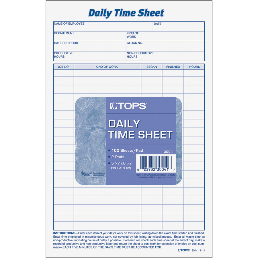 tops daily time sheet form icc business products office products
