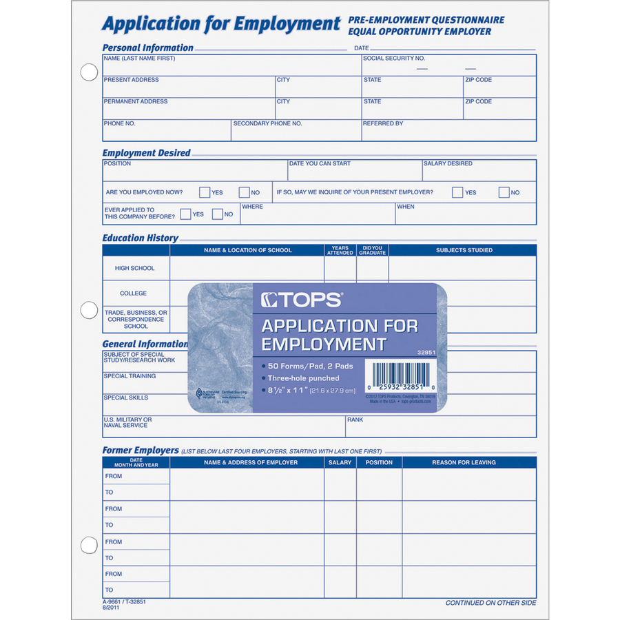 tops employment application forms servmart