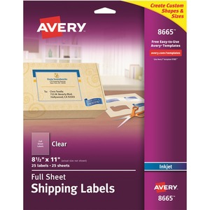 avery reg 8665 avery matte clear easy peel shipping labels