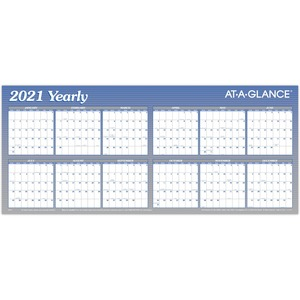 At-A-Glance Large Erasable/Reversible Horizontal Yearly Wall Planner - Yearly - 1 Year - January 2020 till December 2020 - 60
