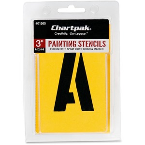 Chartpak Painting Letters/Numbers Stencils - 3 - Gothic - Yellow